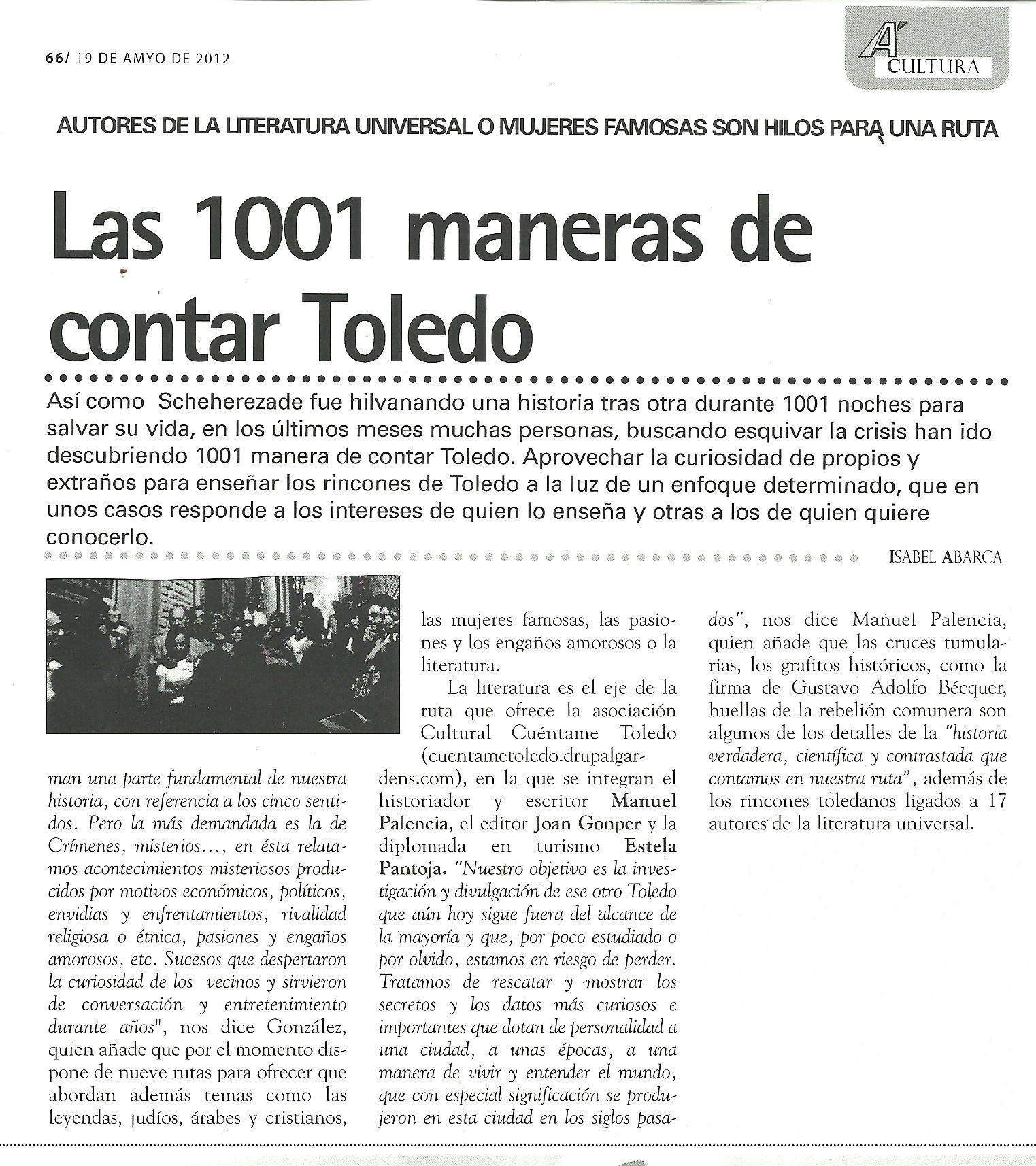 AQUÍ, revista : 'Cuéntame Toledo', por Isabel Abarca.