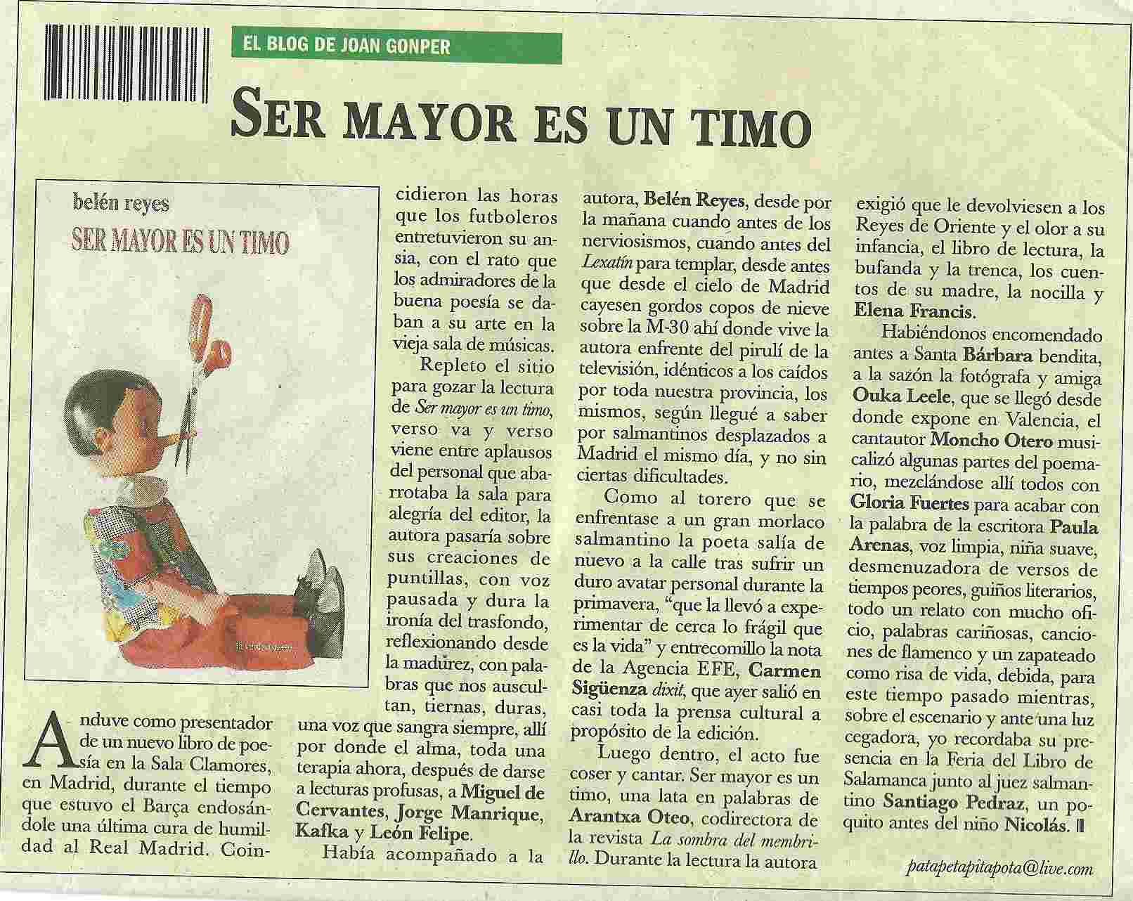 """EL ADELANTO DE SALMANCA: Presentación de """"Ser mayor es un timo"""" de Belén Reyes."""