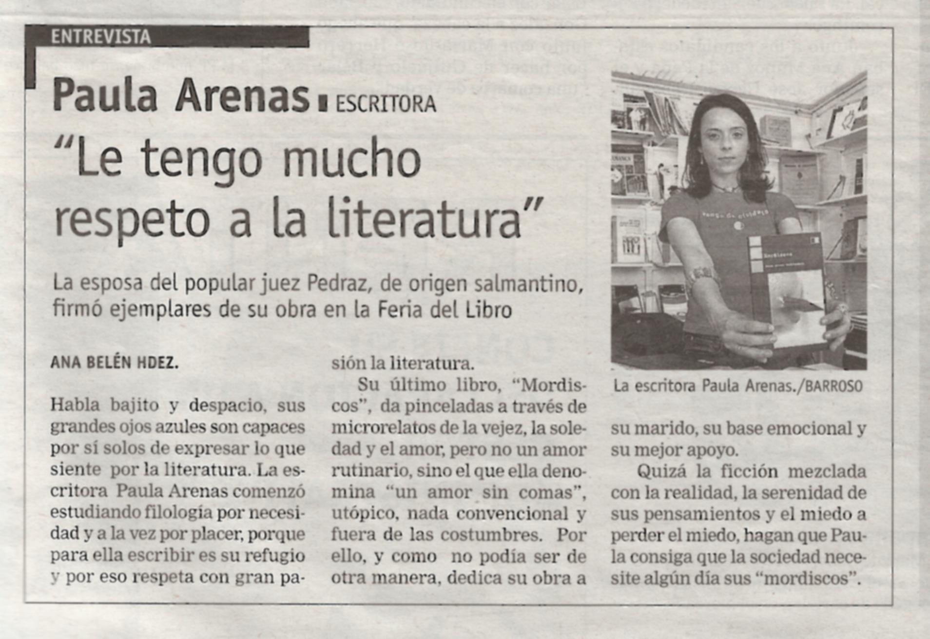 """LA GACETA DE SALAMANCA: Paula Arenas y """"Mordiscos"""" en la Feria del Libro de Salamanca."""