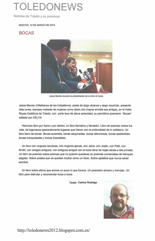 TOLEDO NEWS : Presentación de 'Bocas' de Jesús Maroto.