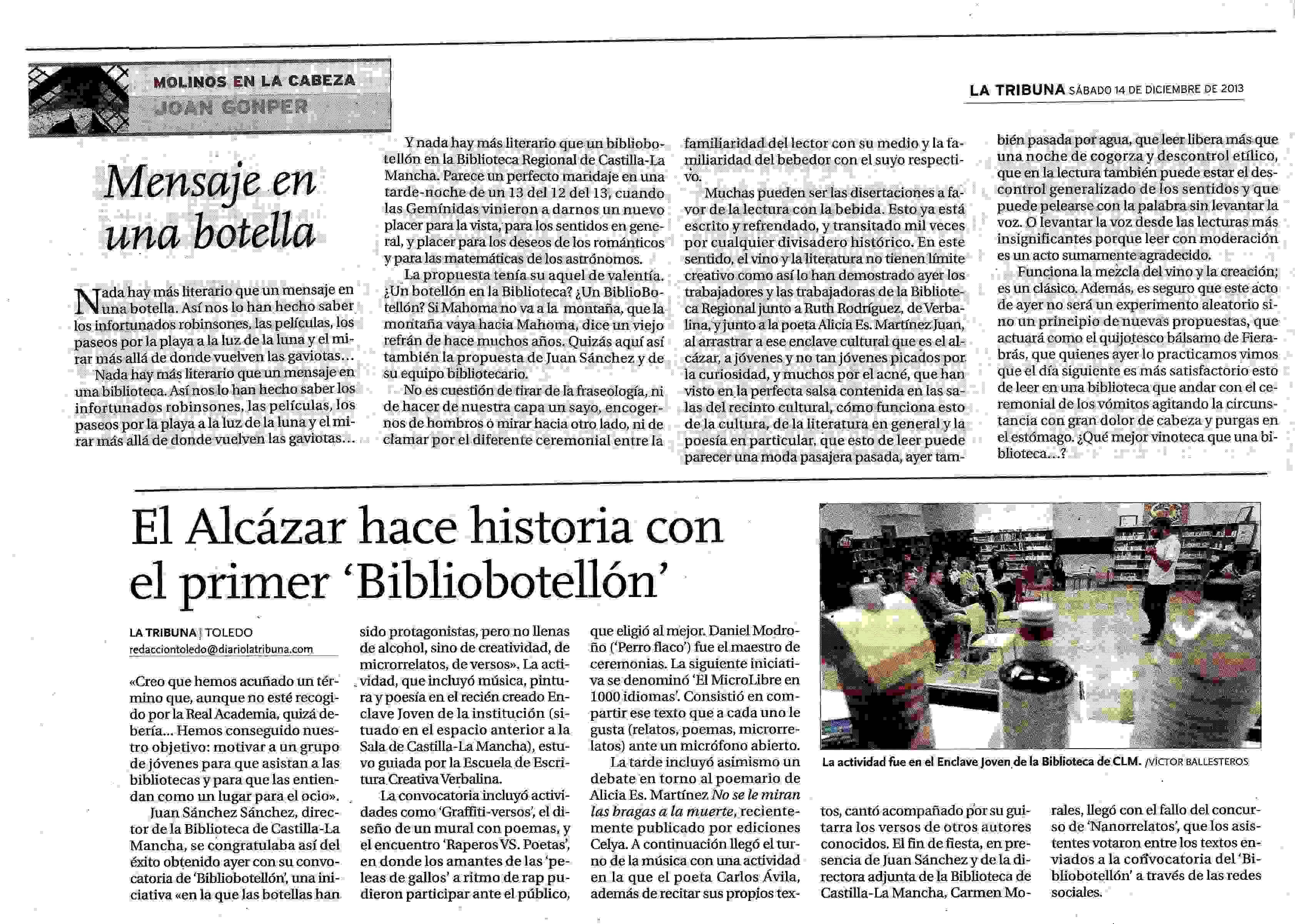 LA TRIBUNA : Bibliobotellón.