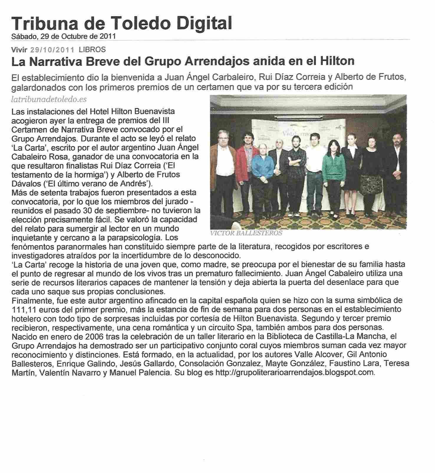 "TRIBUNA DE TOLEDO DIGITAL: Premio de Narrativa Breve del ""Grupo Arrendajos""."