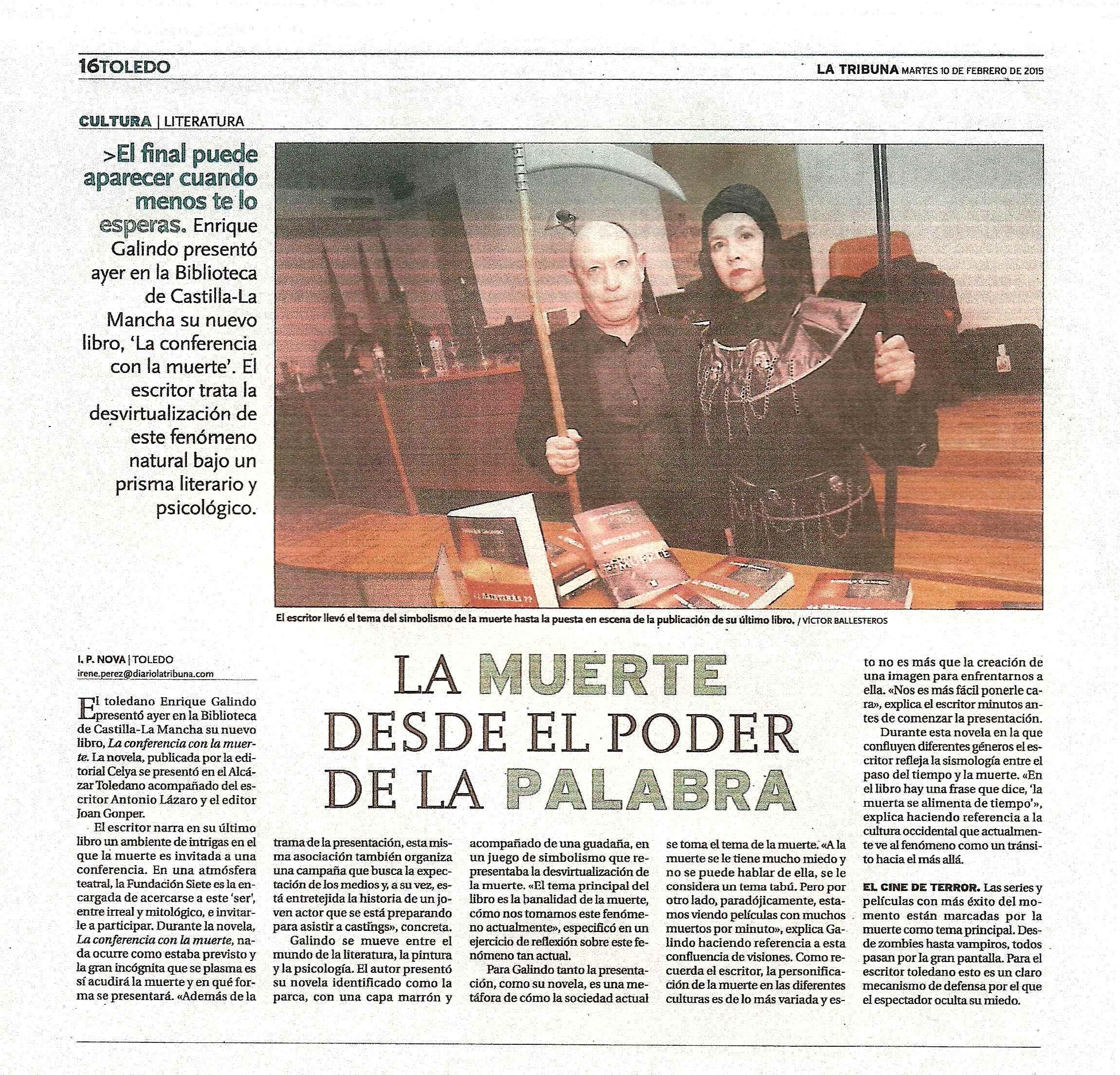 """LA TRIBUNA : Presentación de la novela """"La conferencia de La Muerte"""" de E. Galindo."""