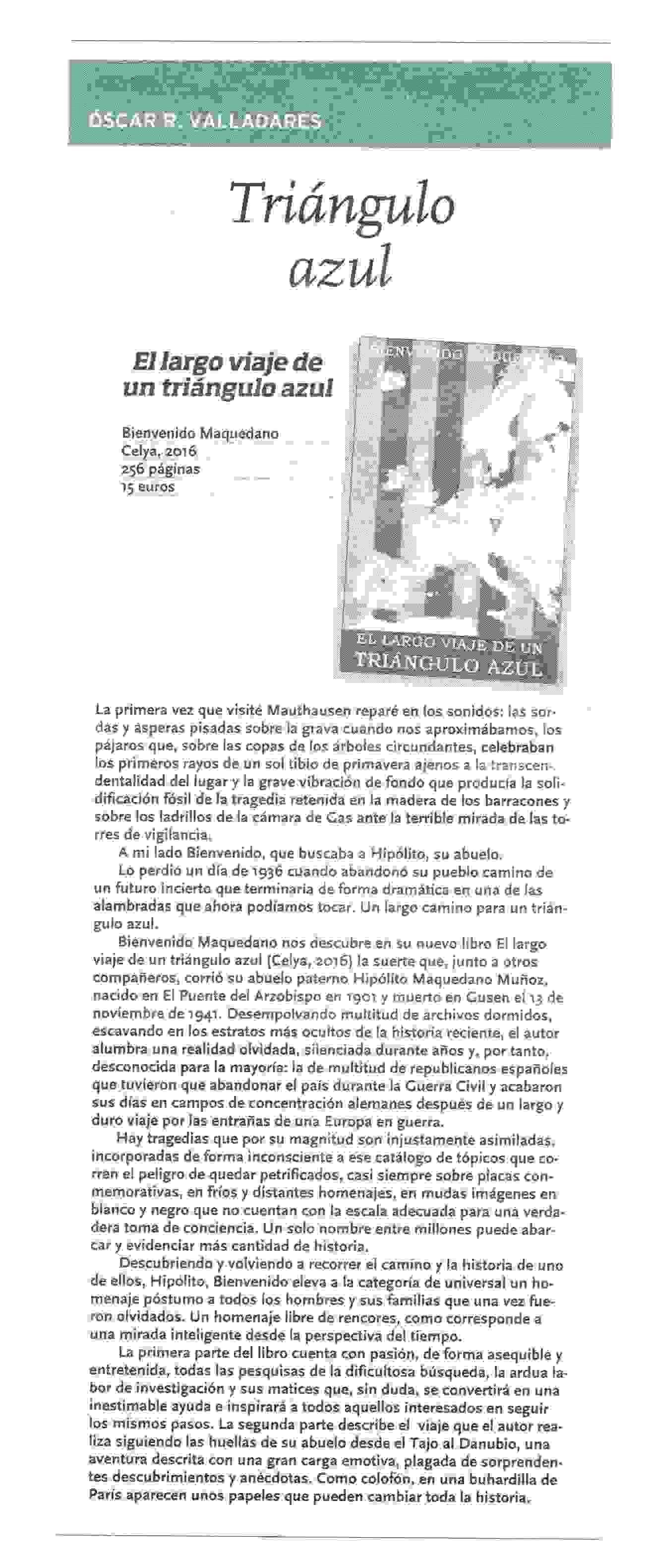 LA TRIBUNA : Triángulo azul, por Óscar R. Valladares.
