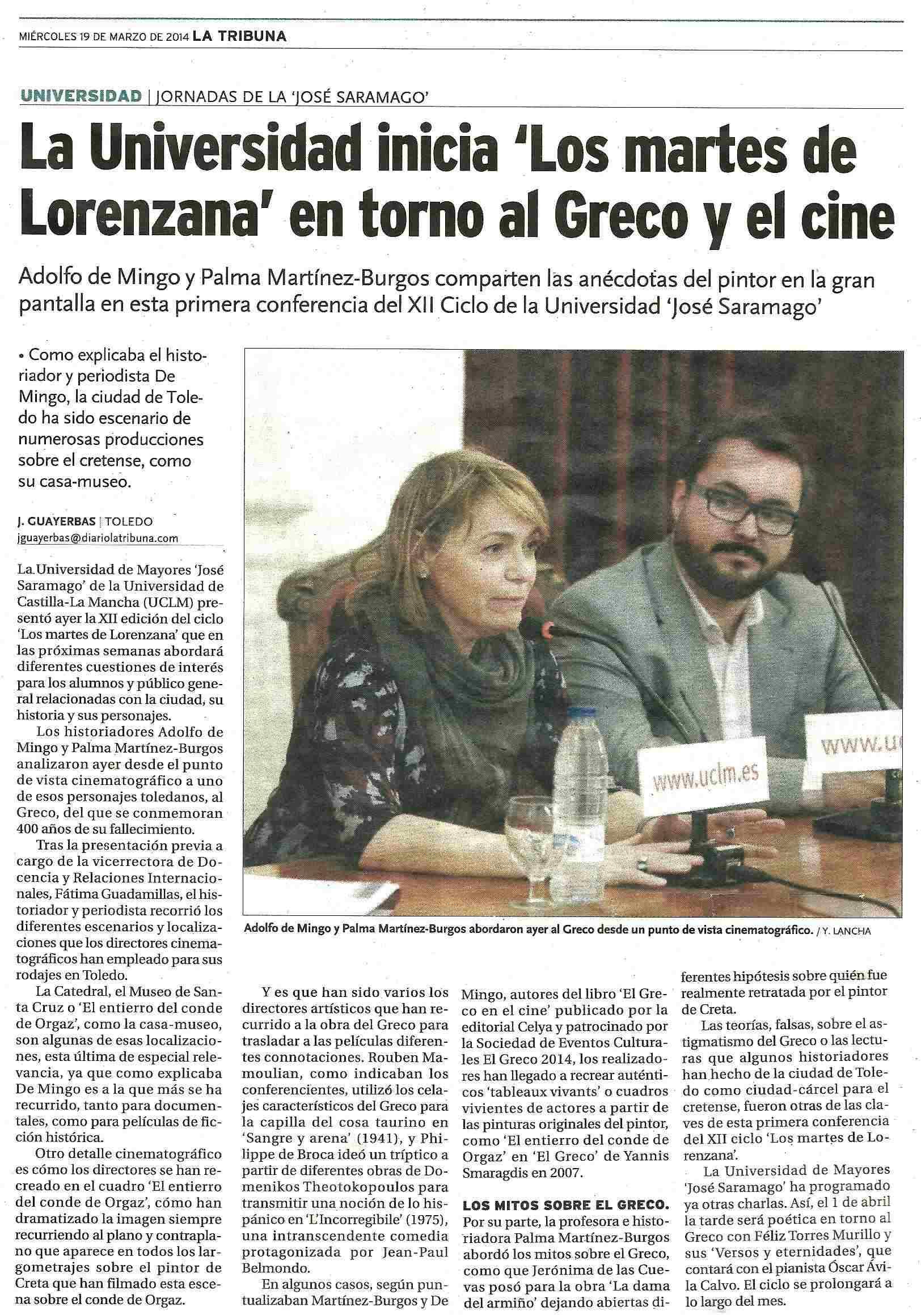 LA TRIBUNA : La Universidad y El Greco.