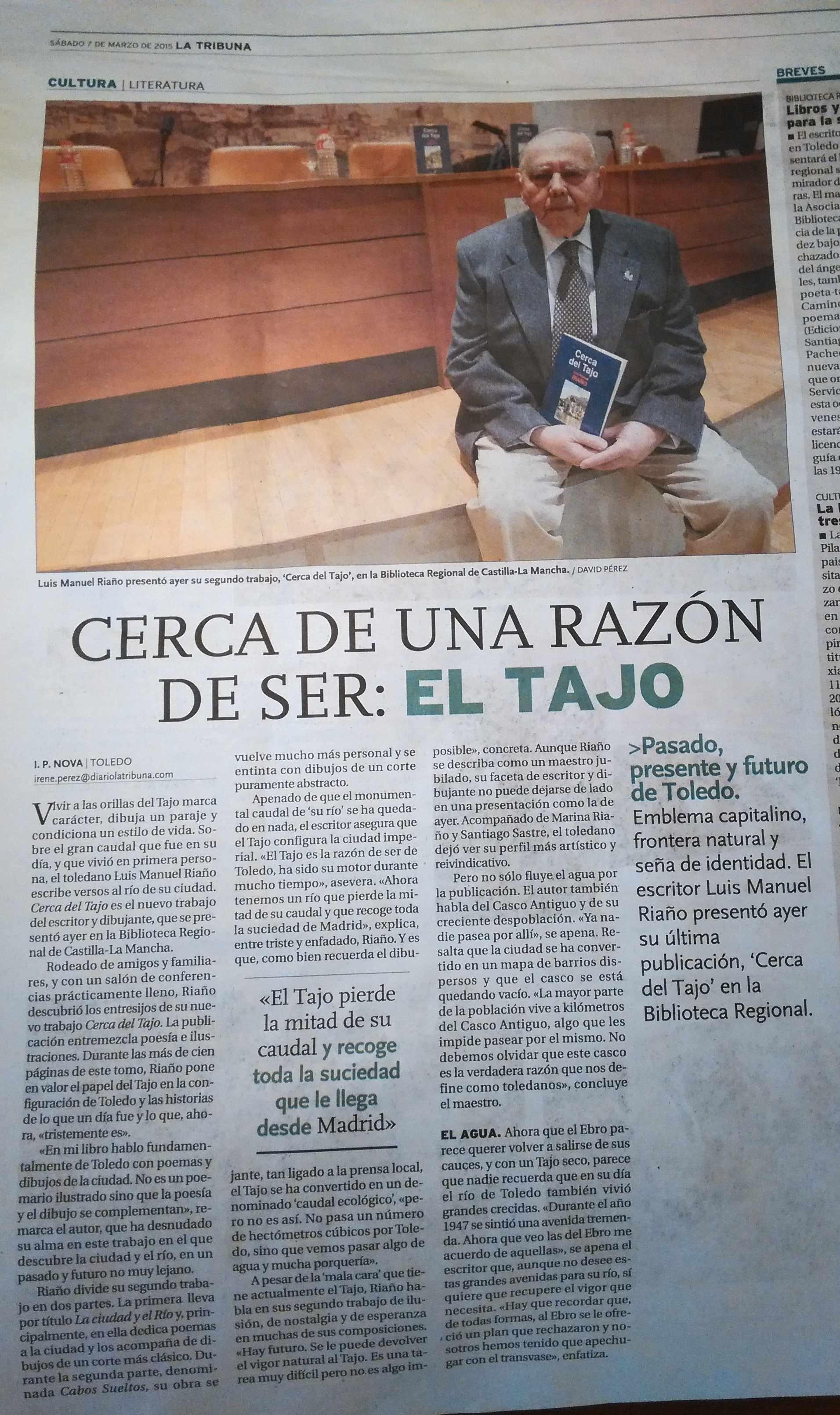 LA TRIBUNA DE TOLEDO : Presentación de CERCA DEL TAJO, de Luis Riaño.