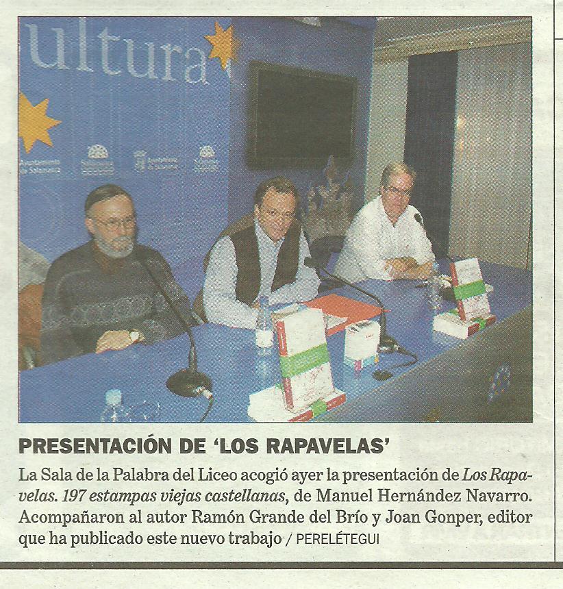 """TRIBUNA DE SALAMANCA: Presentación de """"Los Rapavelas"""" en el Teatro Liceo de Salamanca."""