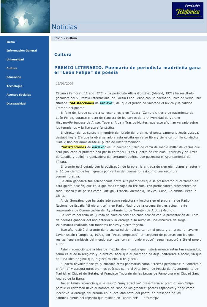 """CAMPUS RED: """"Satisfacciones de esclavo"""", V Premio Internacional de Poesía """"León Felipe"""""""