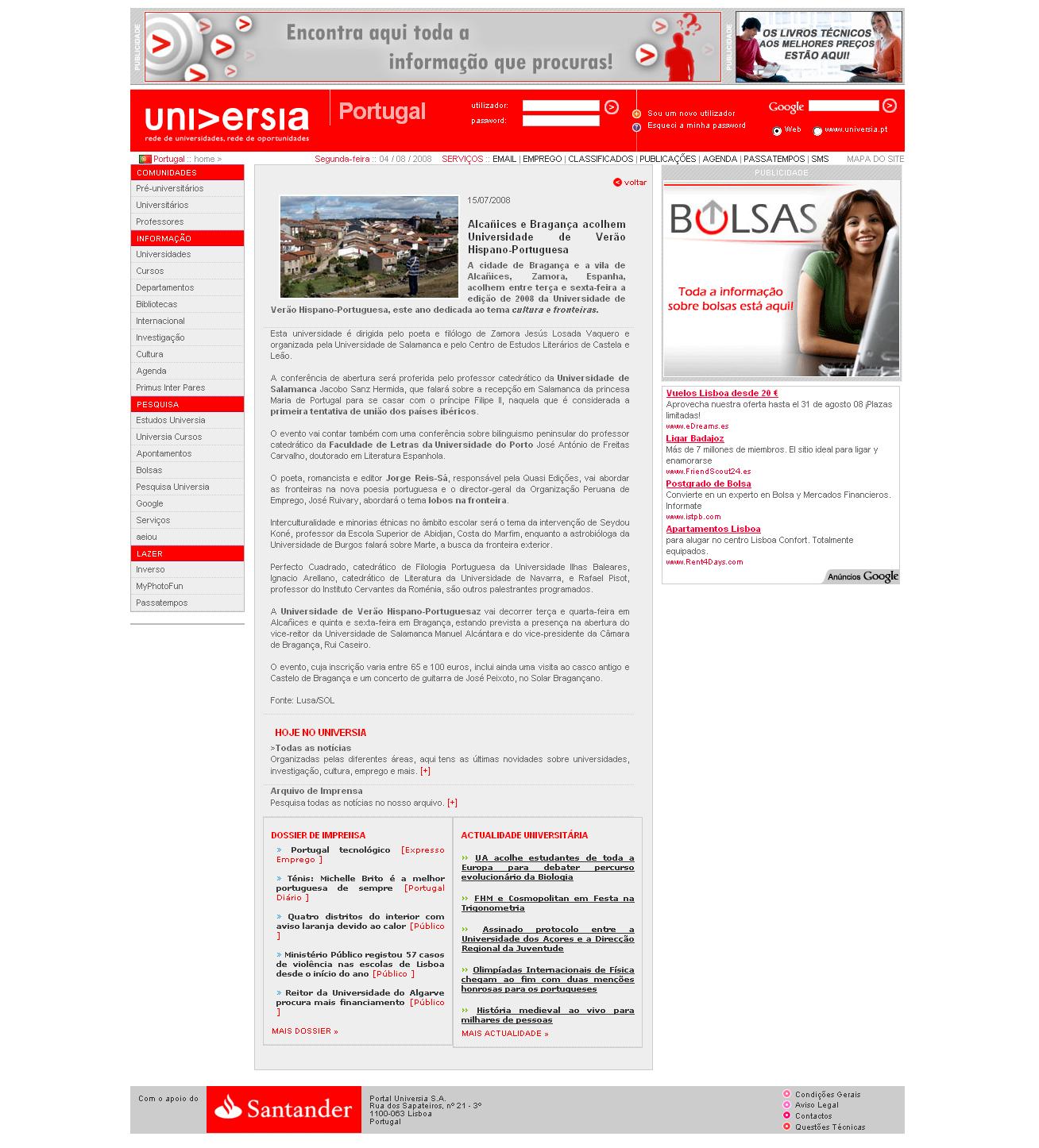 UNIVERSIA PORTUGAL: Universidad Hispano-Portuguesa 2008.
