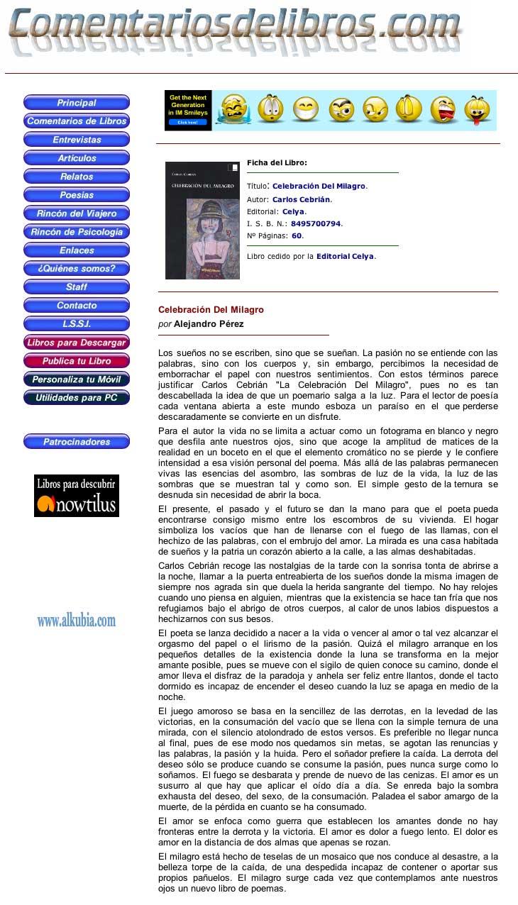 """COMENTARIOS DE LIBROS. COM: """"Celebración del Milagro"""" de Carlos Cebrián, por Alejandro Pérez."""