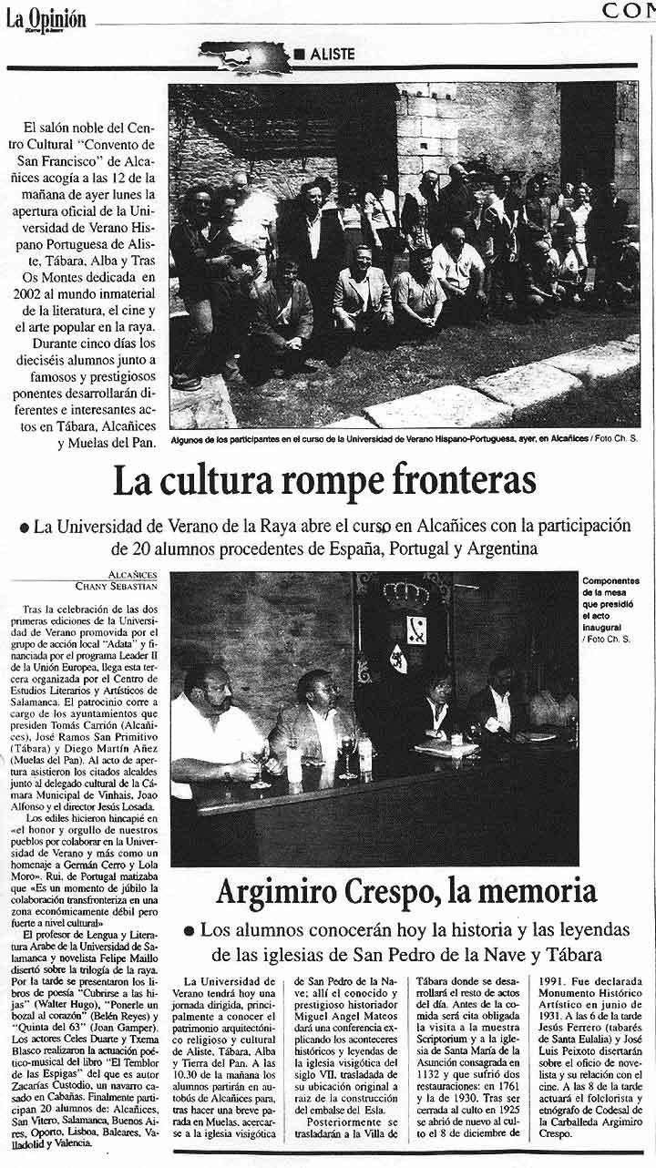 "LA OPINIÓN DE ZAMORA: UNIVERSIDAD HISPANO-PORTUGUESA DE ""La Raya""."