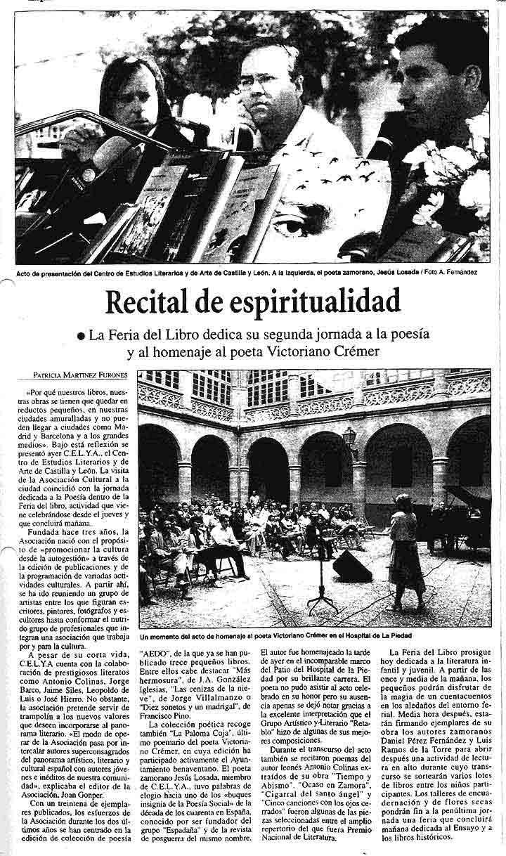 LA OPINIÓN DE ZAMORA: F. del Libro de Bemavente: La paloma coja, de V. Crémer.