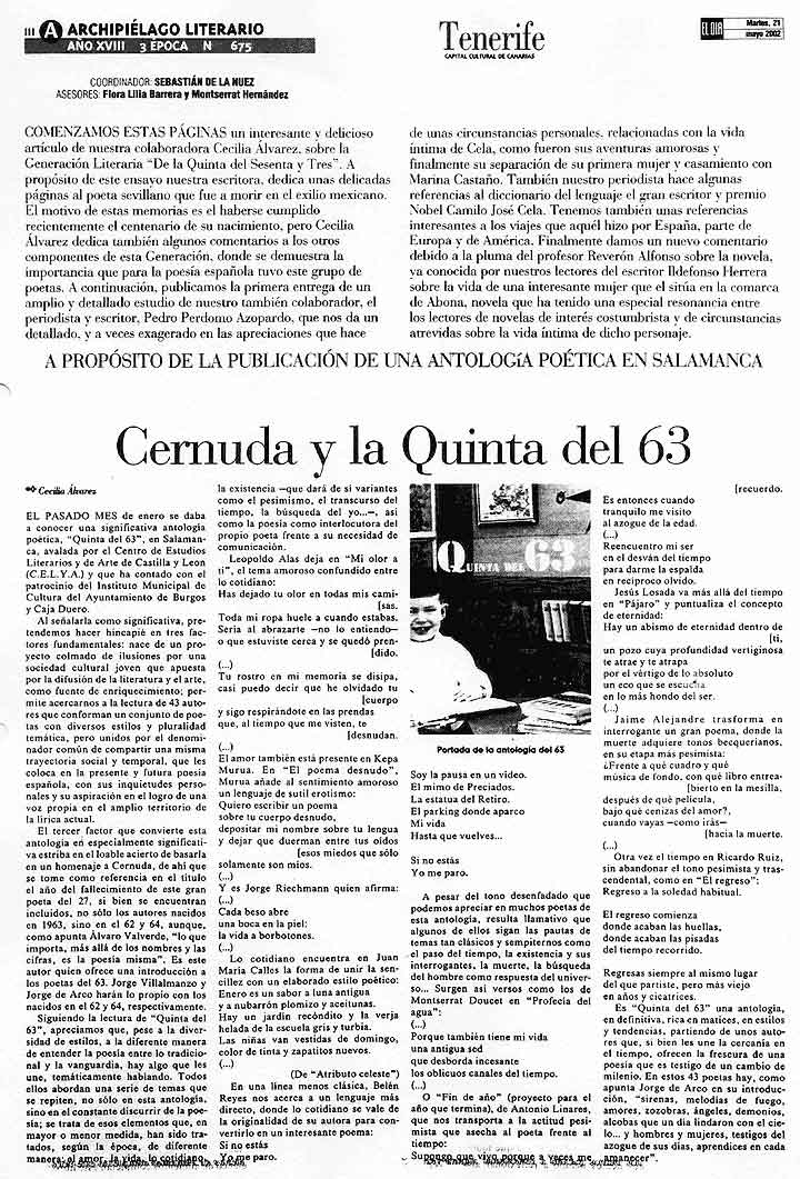 EL DÍA DE TENERIFE: LA [Quinta del 63], por Cecilia Álvarez