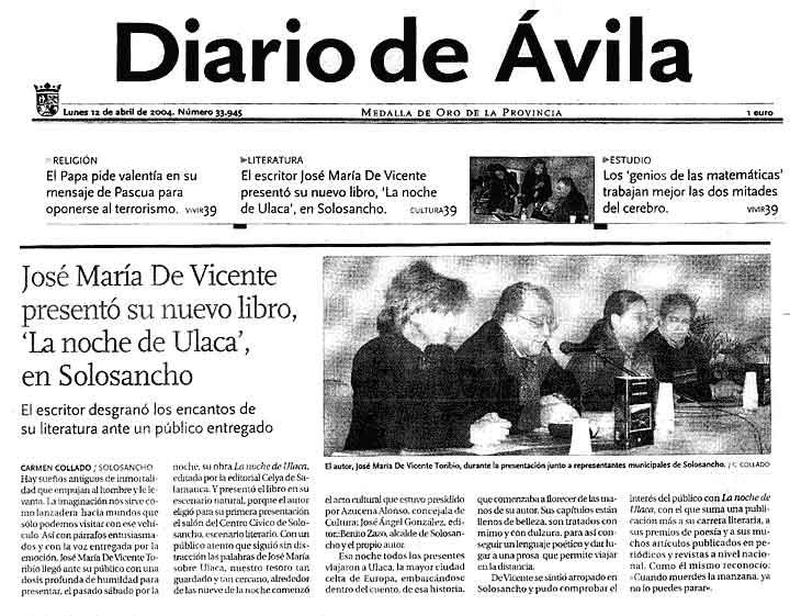 DIARIO DE ÁVILA: [La noche de Ulaca], de J.Mª de Vicente, en Solosancho.