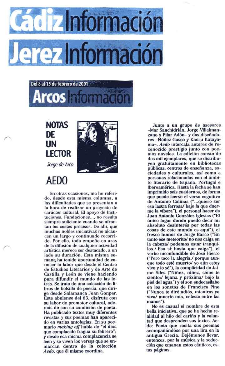 CADIZ INFORMACIÓN: La [Colección Aedo], por Jorge de Arco.