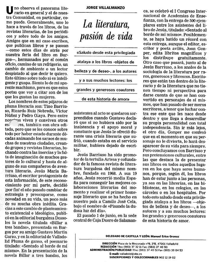 ABC -CyL-: La Literatura.... por Jorge Villalmanzo