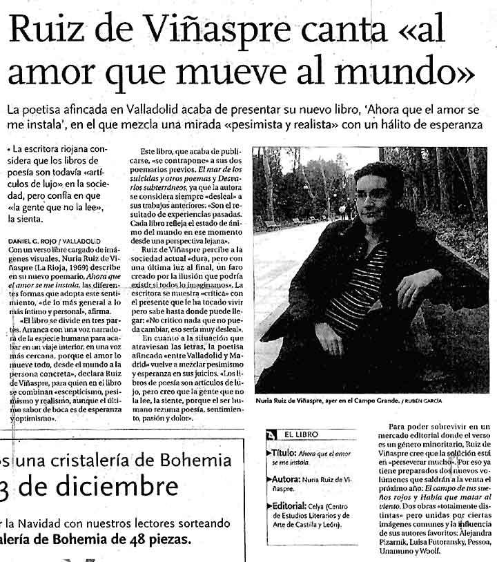 EL DÍA DE VALLADOLID: [Ahora que el amor se me instala], de Nuria R. de Viñaspre y Prólogo de Eduardo Mendicutti.