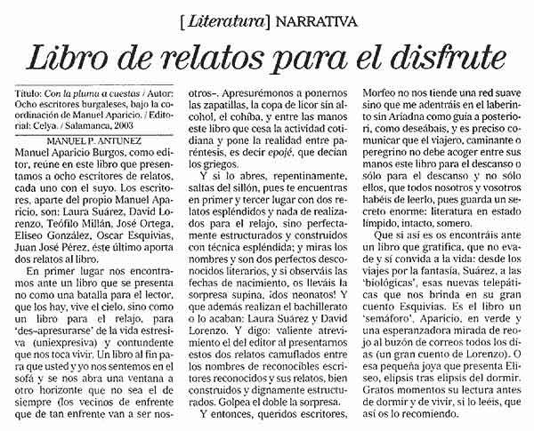 EL CORREO DE BURGOS: Libro de relatos en hoteles, por Manuel Prado Antúnez.
