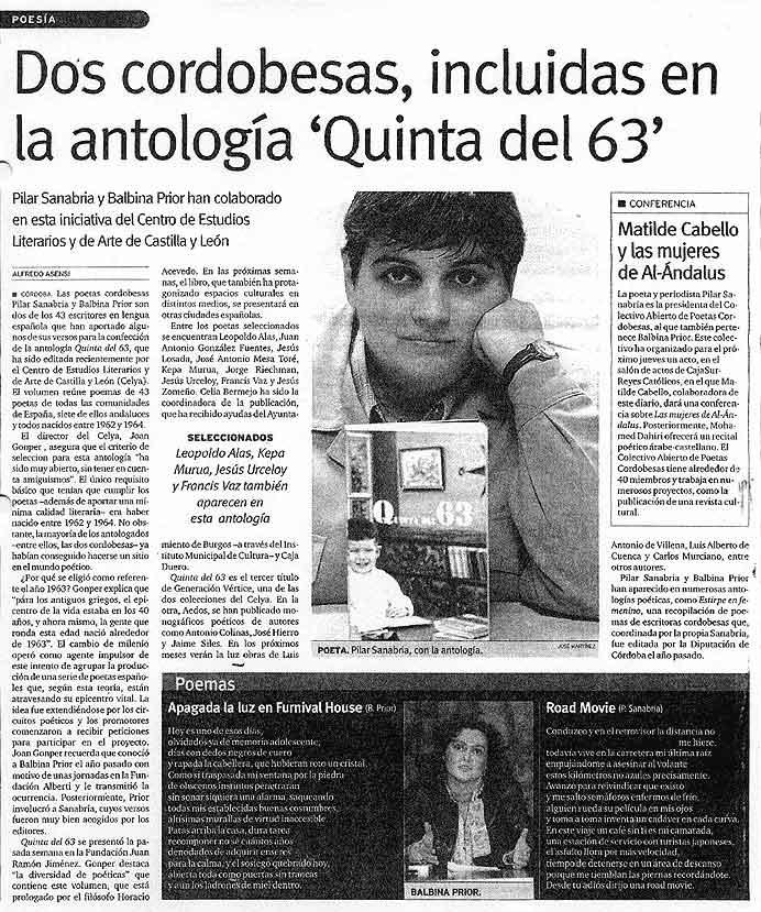 EL DÍA DE CÓRDOBA: La [Quinta del 63], por Alfredo Asensi.
