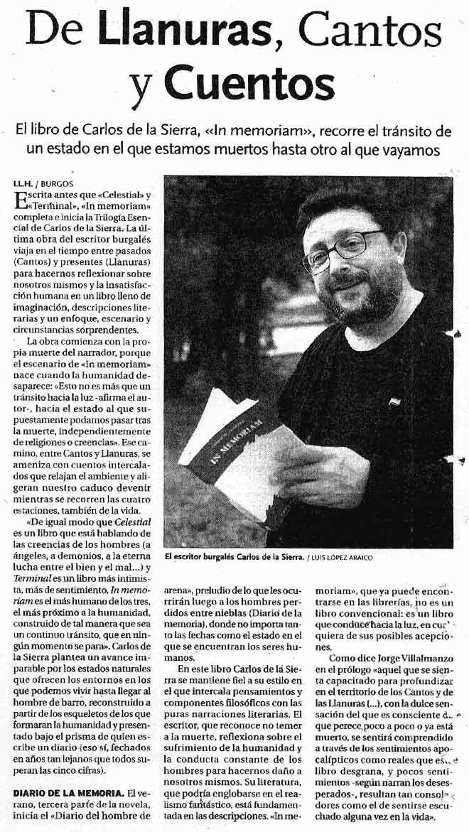 DIARIO DE BURGOS: FERIA DEL LIBRO DE BURGOS: [In Memoriam], de Carlos de la Sierra.