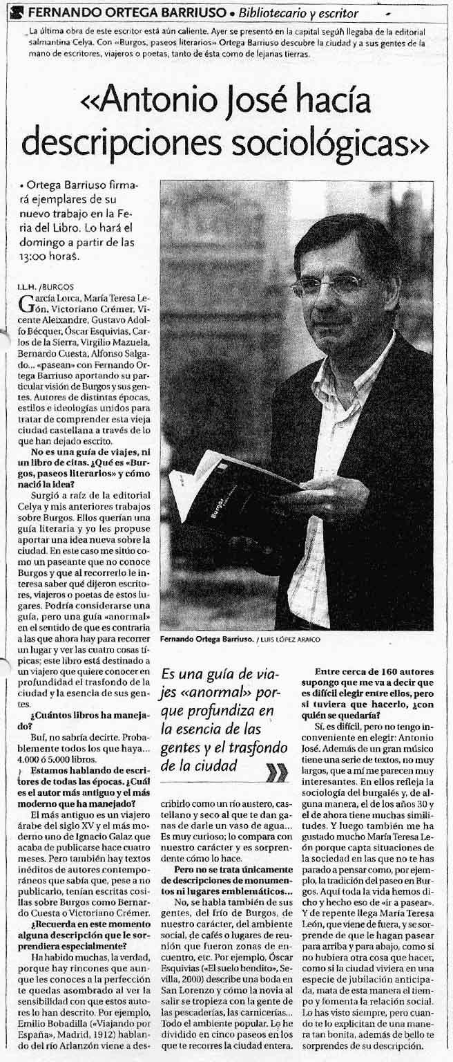 DIARIO DE BURGOS: Presentación de [Burgos: paseos literarios].