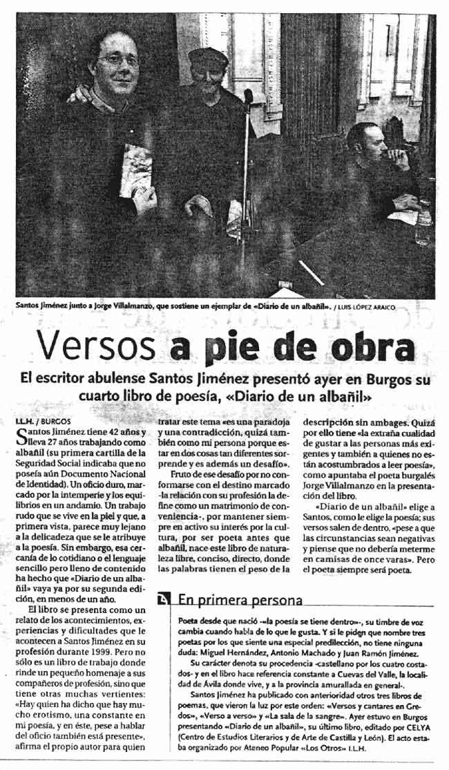 DIARIO DE BURGOS: eL [Diario de un albañil], en el Teatro Principal de Burgos.