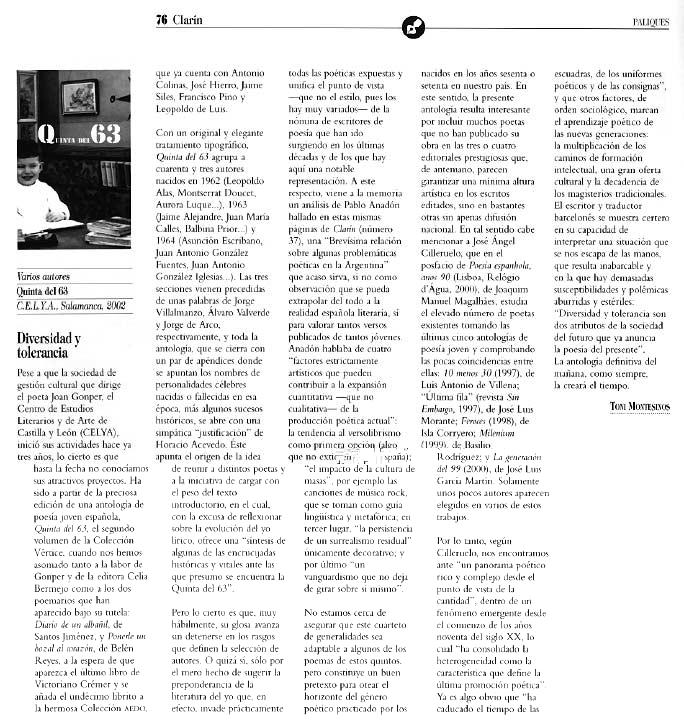 REVISTA CLARÍN: La [Quinta del 63], por Toni Montesinos.
