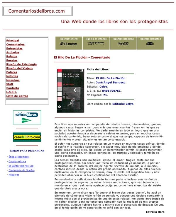 COMENTARIOS DE LIBROS.COM: EL HILO DE LA FICCIÓN, de J.Ángel Barrueco.