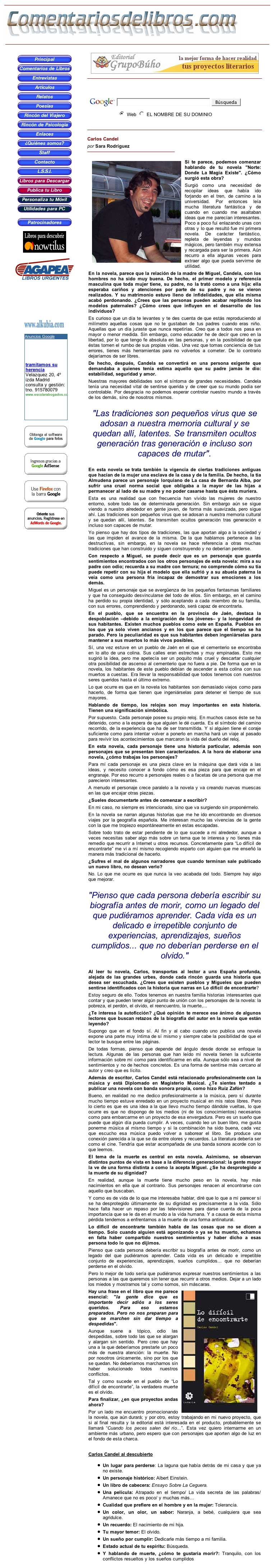 COMENTARIOS DE LIBROS.COM: Carlos Candel, por Sara Rodríguez.