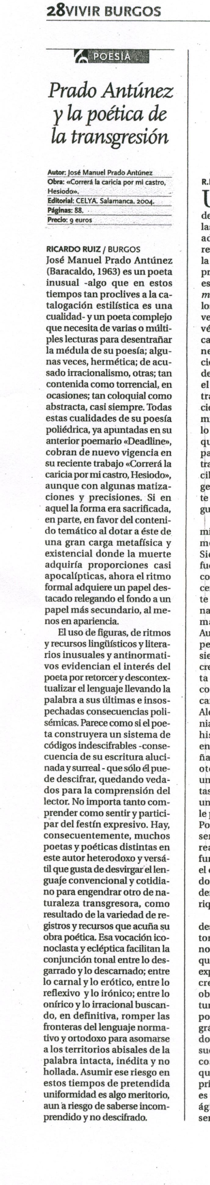 EL DIARIO DE BURGOS: CORRERÁ LA CARICIA POR MI CASTRO, HESÍODO, por Ricardo Ruiz.