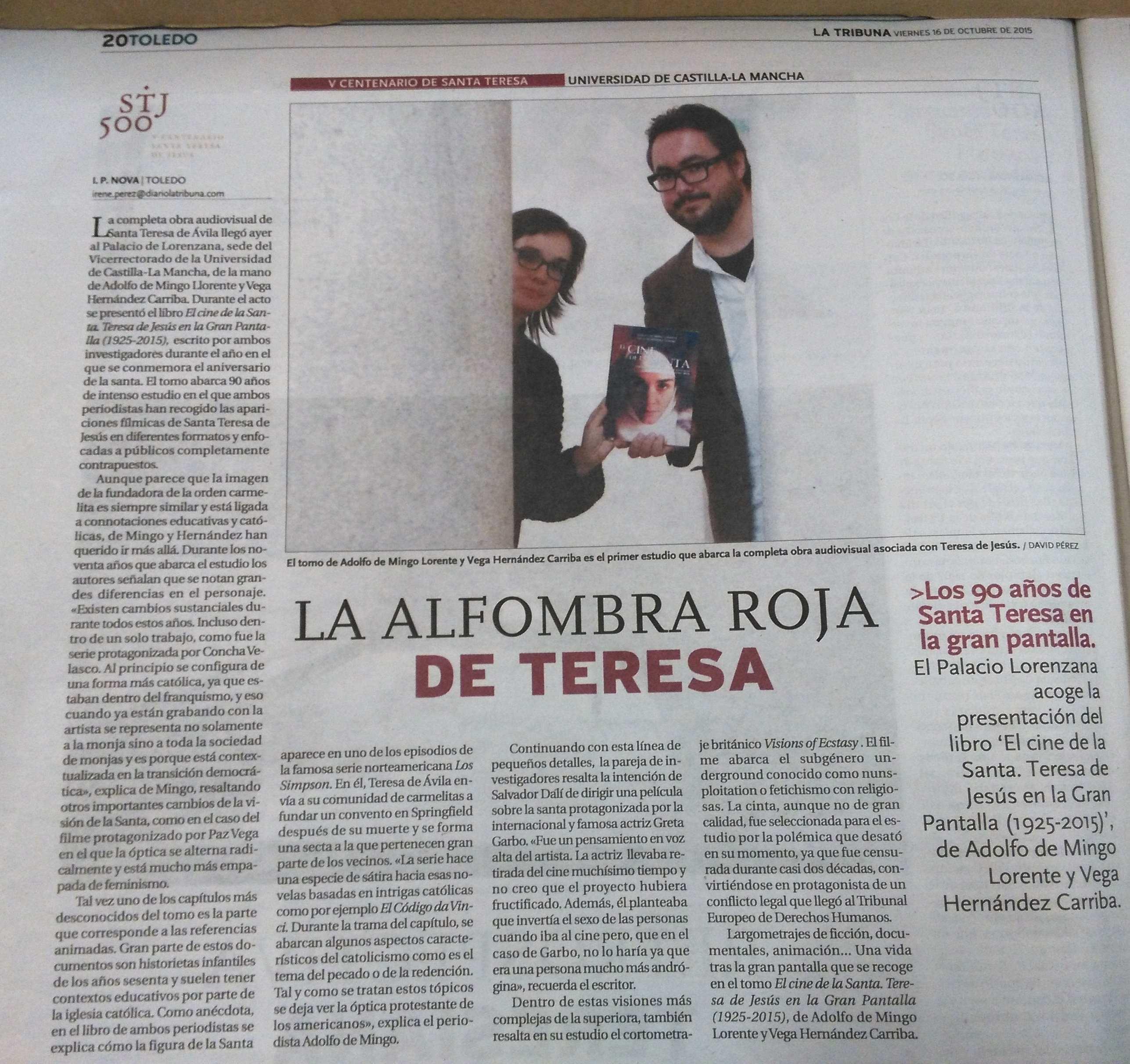 LA TRIBUNA DE TOLEDO: La alfombra roja de Teresa, por L. P. Novoa