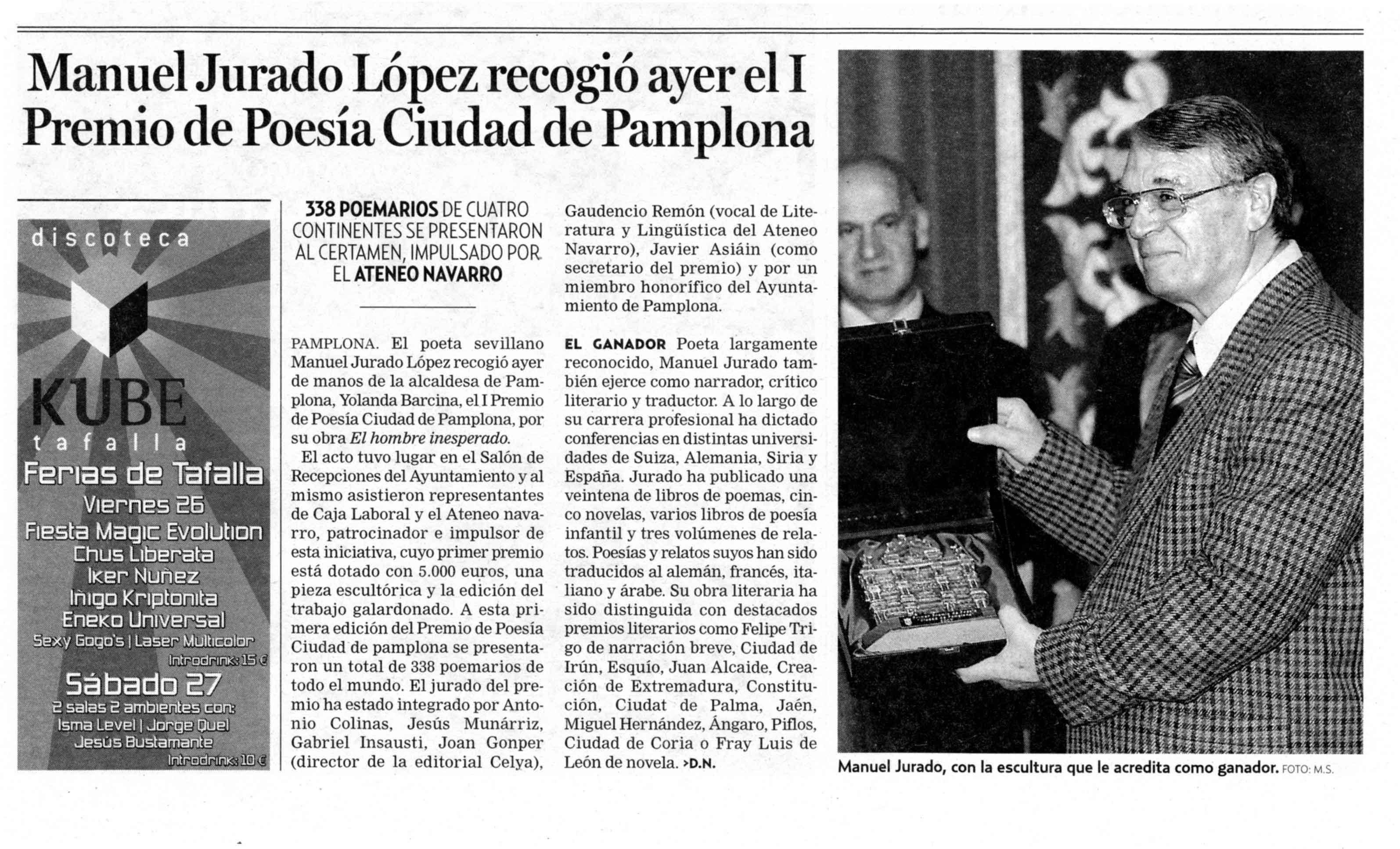 DIARIO DE NOTICIAS: I Premio de Poesía Ciudad de Pamplona