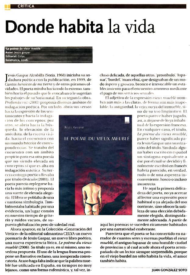 "DIARIO DE ÁVILA: ""Le poema du vieux meublé"", por Juan González Soto."