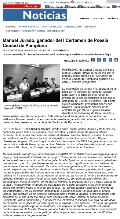 """DIARIO DE NAVARRA: I Premio Internacional de Poesía """"Ciudad de Pamplona""""."""