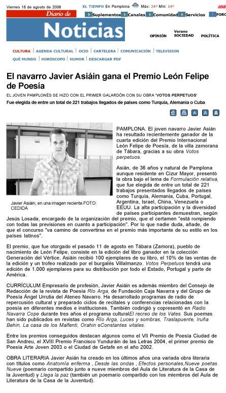 """DIARIO DE NOTICIAS: Javier Asiáin recibe el IV Premio Internacional de Poesía """"León Felipe"""""""
