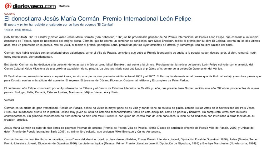 """DIARIO VASCO: Corman, VI Premio Internacional de Poesía """"León Felipe""""."""