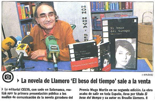 """EL ADELANTO DE SALAMANCA: Sale a la venta """"El beso del tiempo"""" de Braulio Llamero."""