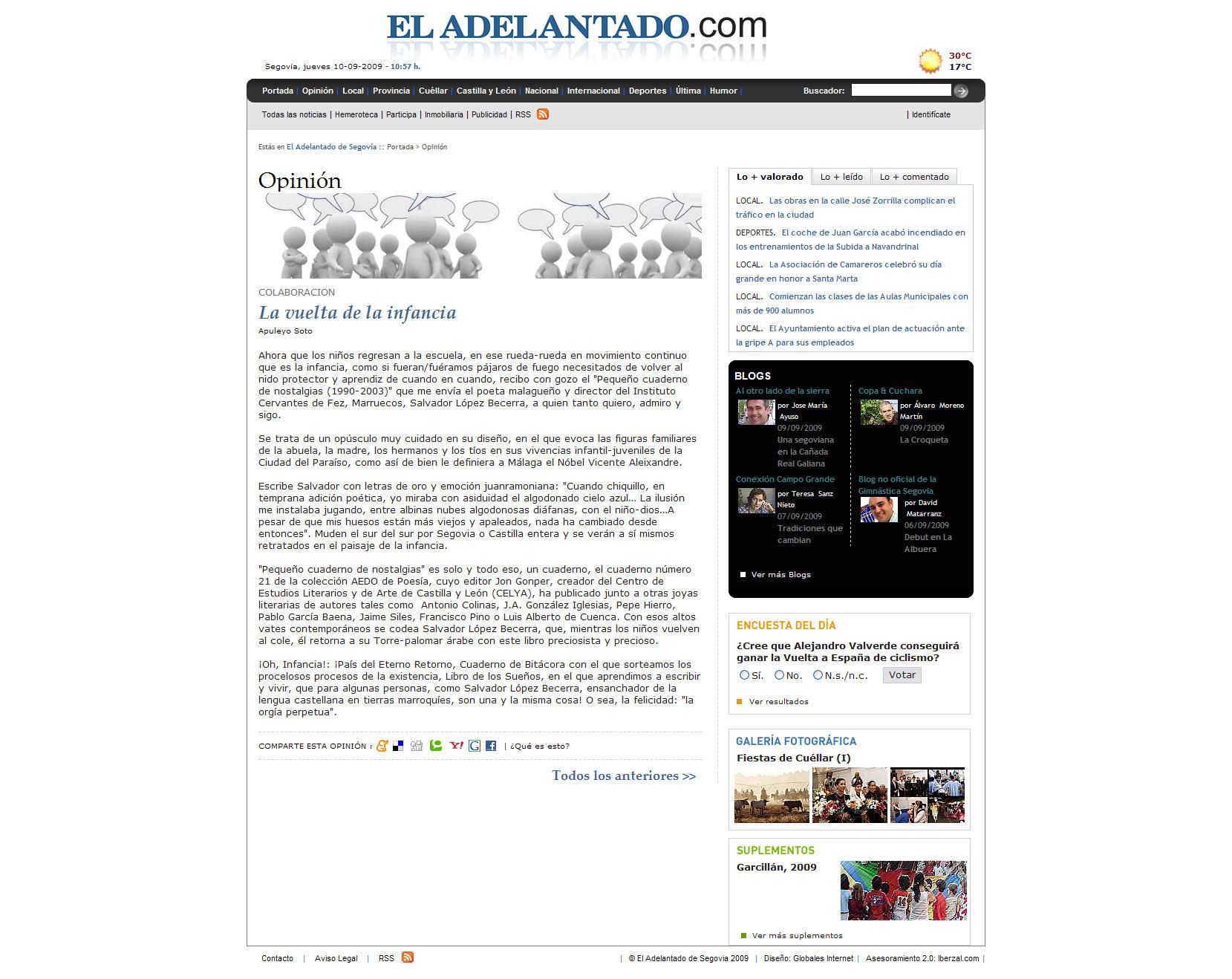 EL ADELANTADO DE SEGOVIA: El Aedo 21, por Apuleyo Soto.