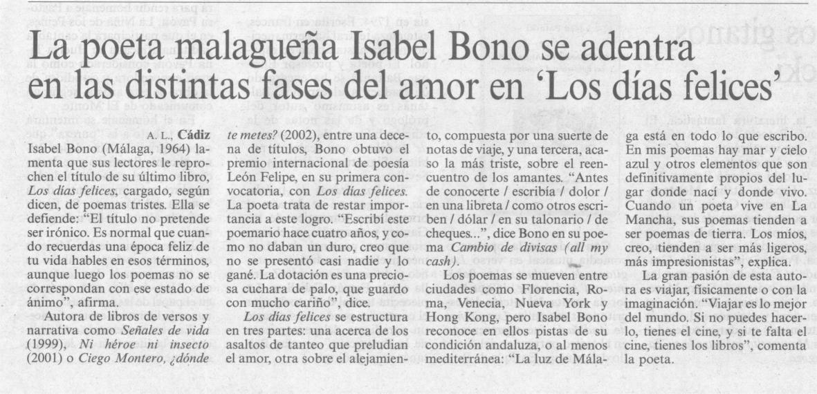 EL PAÍS: I PREMIO CELYA DE POESÍA a Isabel Bono.