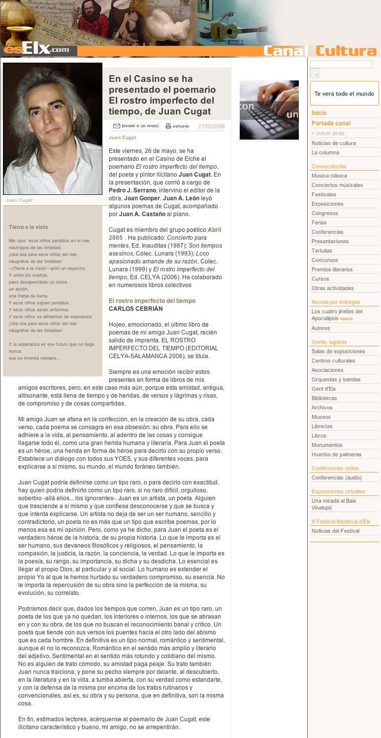 """ELX.COM: Presentación de """"El rostro imperfecto del tiempo"""", de Juan Cugat."""