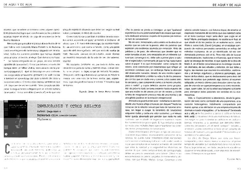 REVISTA FÁBULA: Sobre INMEJORABLE Y OTROS RELATOS, de Diego Marín A.