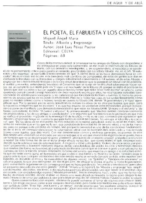 REVISTA FÁBULA: Sobre [Albada y engranaje], de José Luis Pérez Pastor.