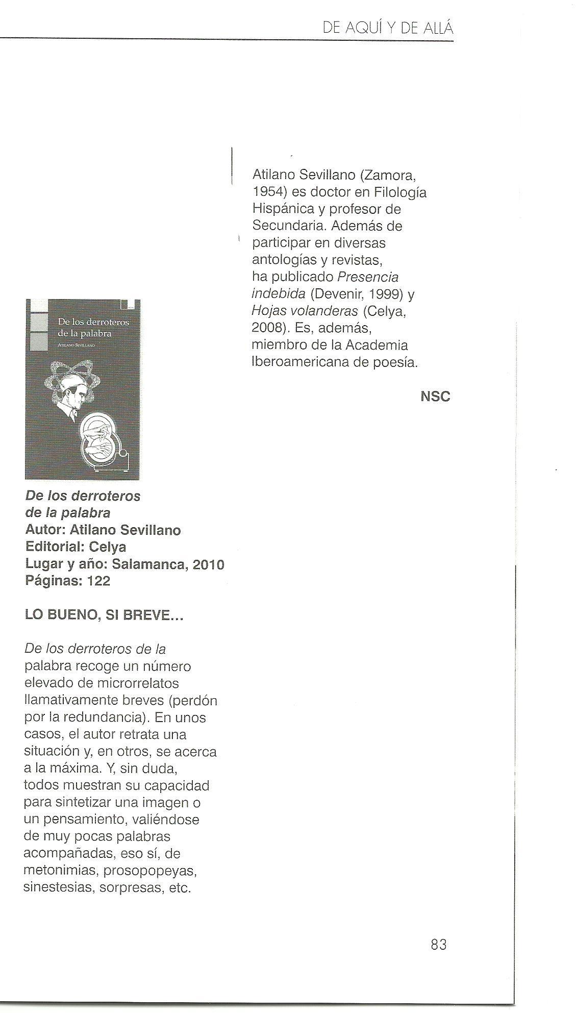 """FÁBULA: Reseña de """"De los derroteros de la palabra"""" de Atilano Sevillano."""