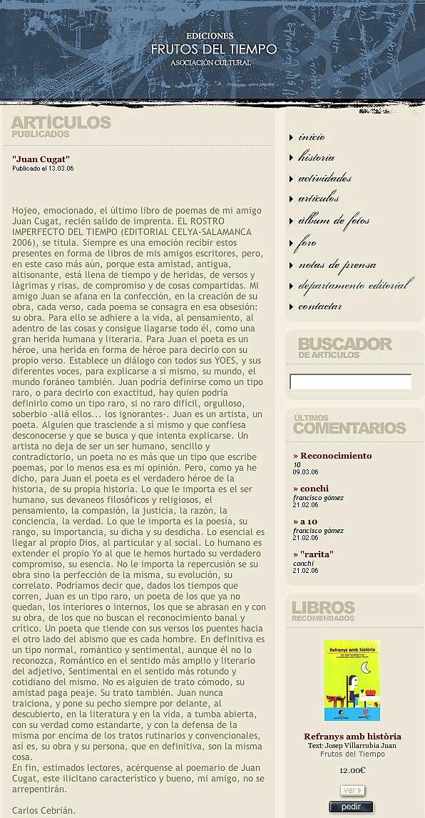 """EDICIONES FRUTOS DEL TIEMPO: Artículo """"Juan Cugat""""."""
