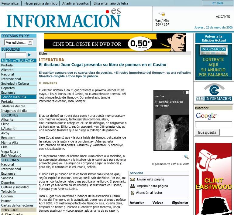 """INFORMACIÓN -Alicante-: Juan Cugat presenta """"El rostro imperfecto del tiempo""""."""