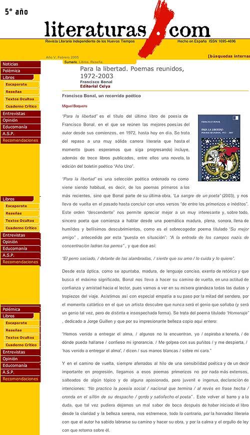 LITERATURAS.COM: ANTOLOGÍA POÉTICA, de FRANCISCO BONAL, por Miguel Baquero.
