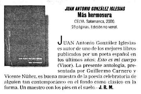 EL CULTURAL: Colección Aedo. [Más hermosura], de Juan Antonio González Iglesias.