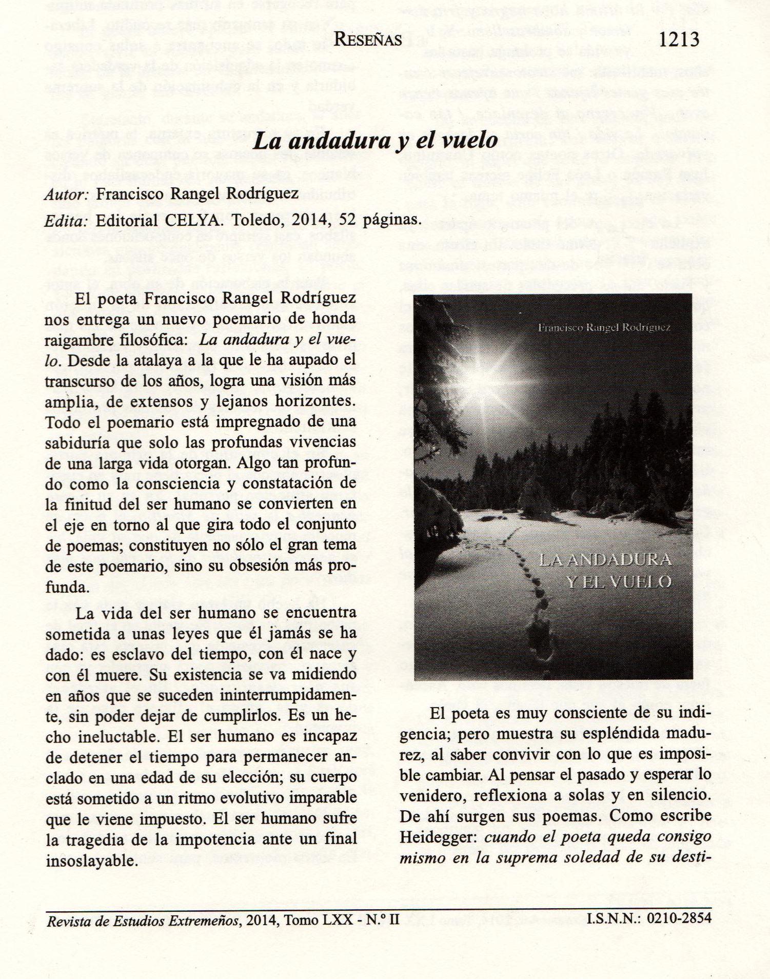 REVISTA DE ESTUDIOS EXTREMEÑOS : La andadura y el vuelo, de Fco. Rangel.