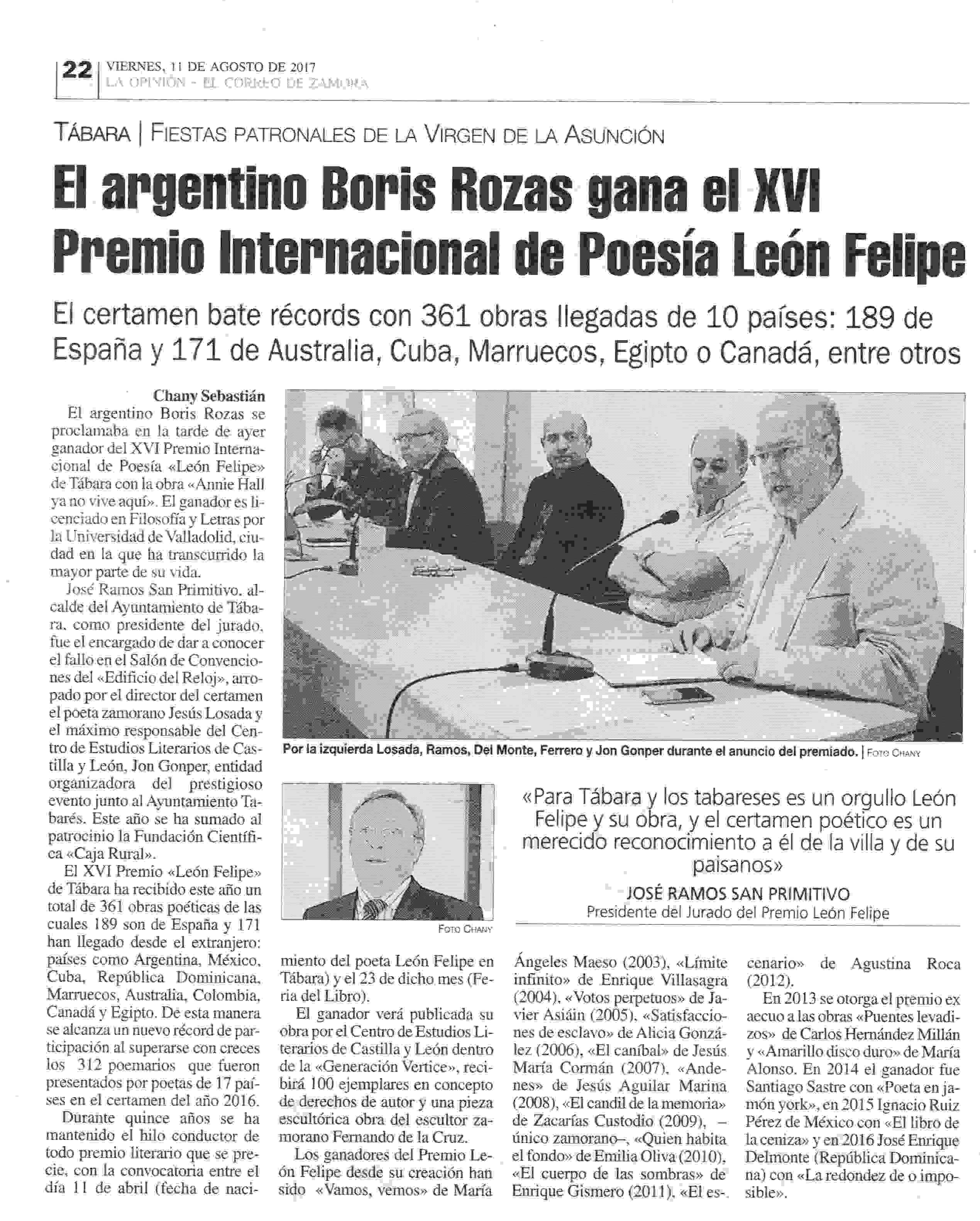 LA OPINIÓN: XVI Premio León Felipe: Boris Rozas