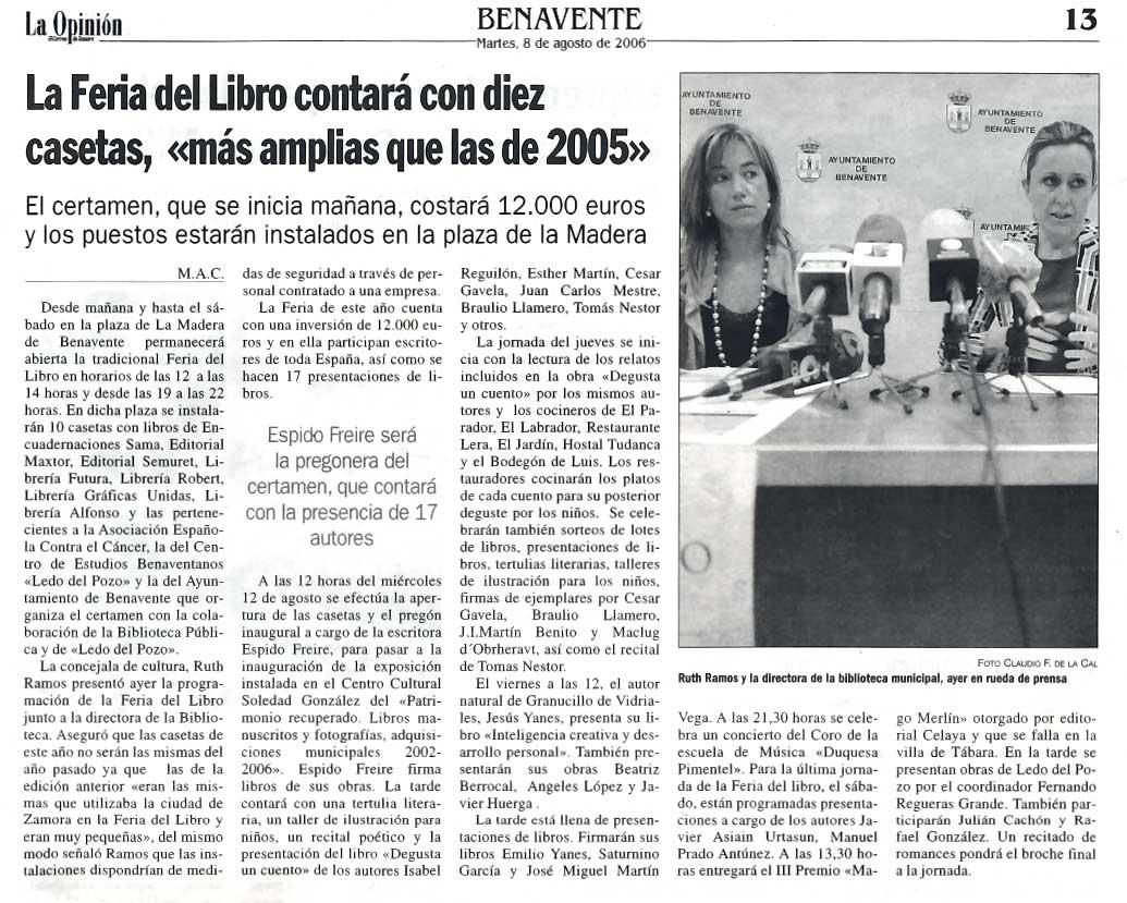 LA OPINIÓN DE ZAMORA: Feria del Libro de Benavente 2006